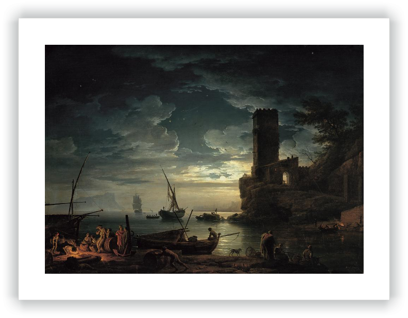 zoom Night: Mediterranean Coast Scene with Fishermen and Boats