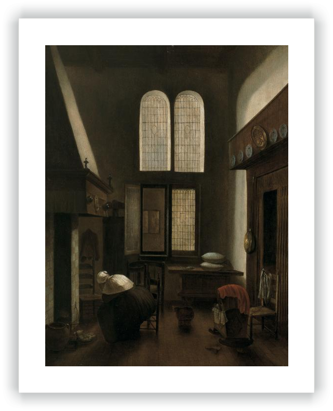 zoom Interior with a Woman Seated by a Hearth