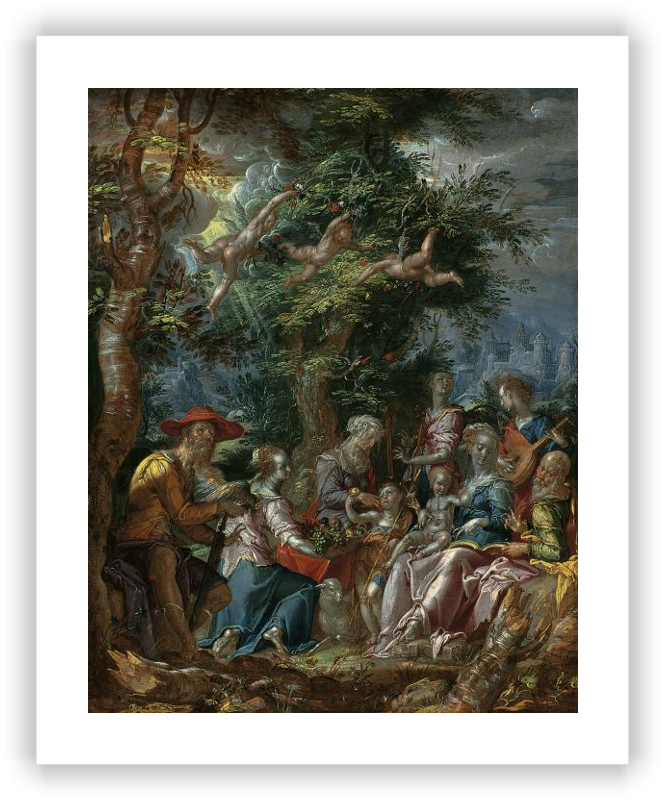 zoom The Holy Family with Saints and Angels