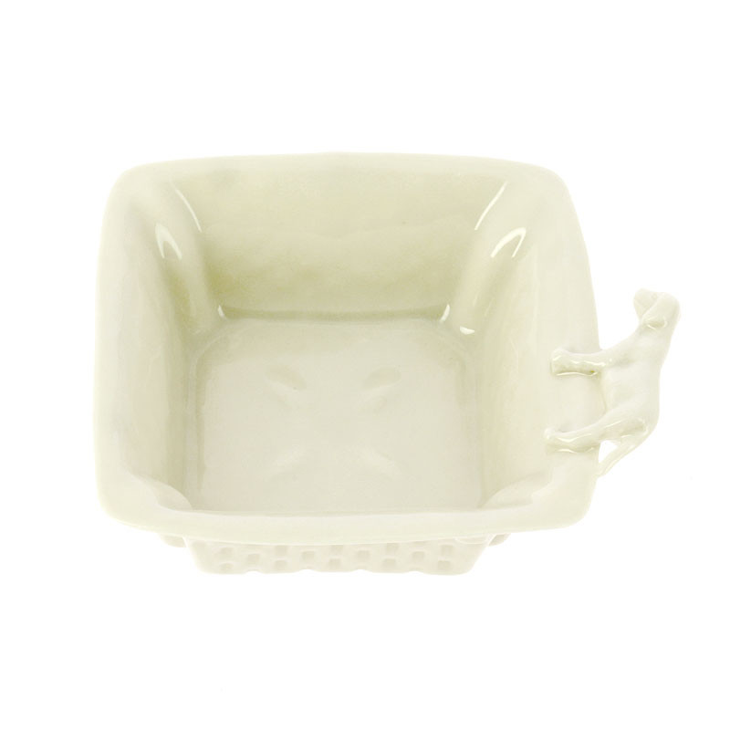 "zoom Porcelain Square Bowl ""Dog"""