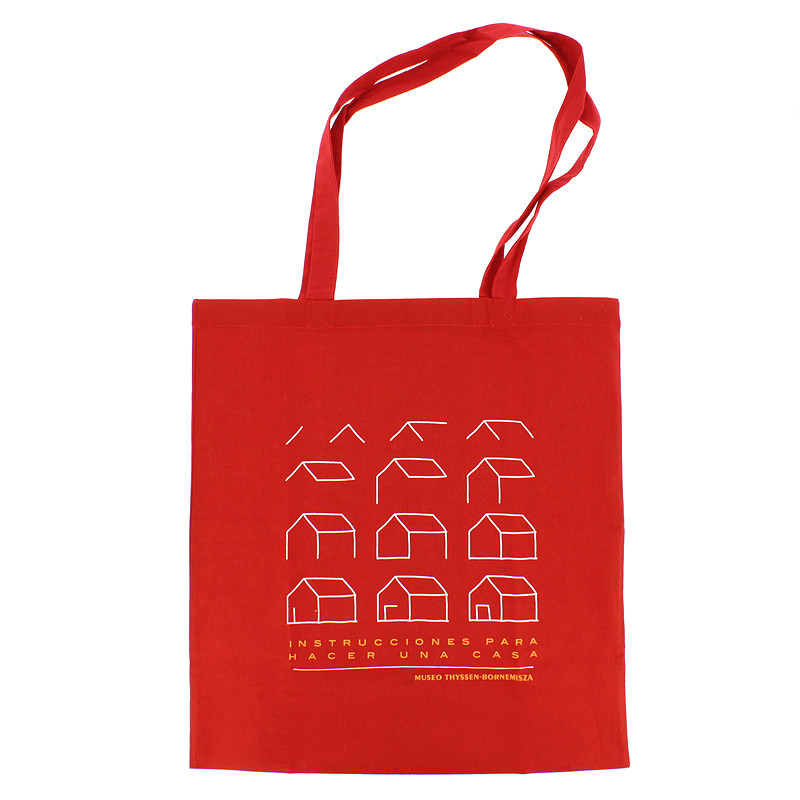 "zoom Red Tote Bag ""Instructions to Make a House"""