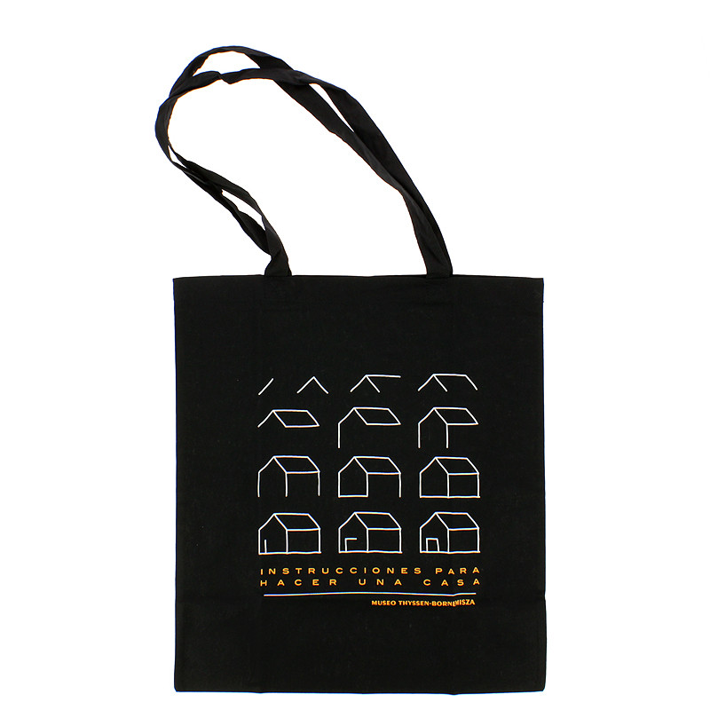 """zoom Black Tote Bag """"Instructions to Make a House"""""""
