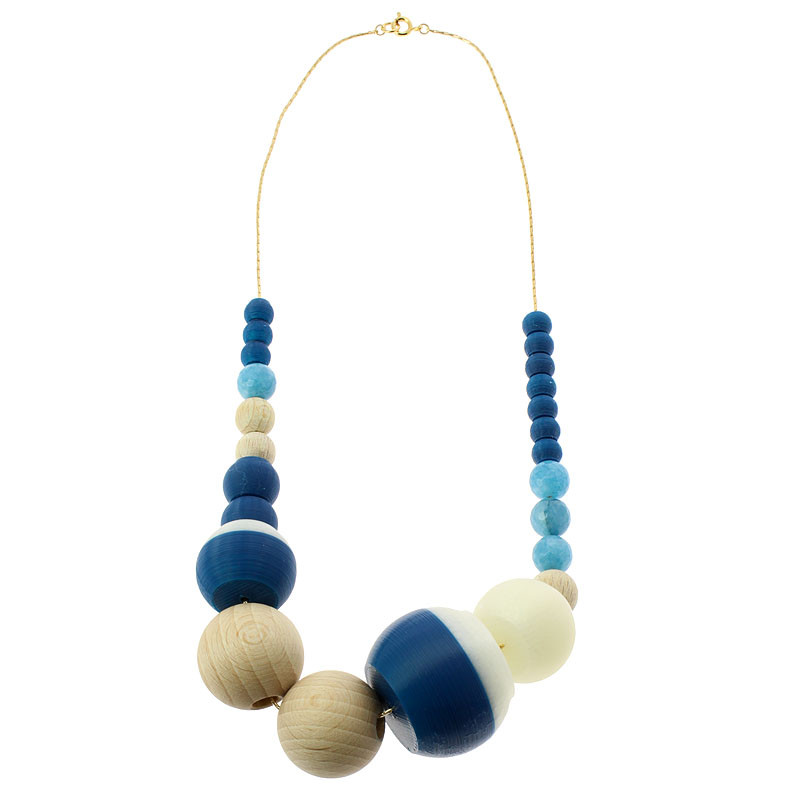 zoom Sonia Delaunay's Blue & White 24 pieces Necklace by Helena Rohner