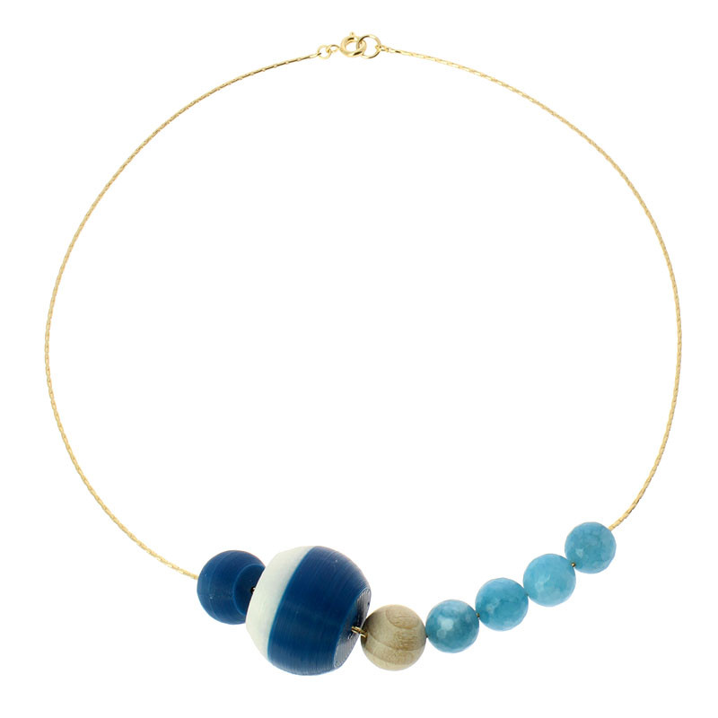 zoom Sonia Delaunay's Blue & White 7 pieces Necklace by Helena Rohner