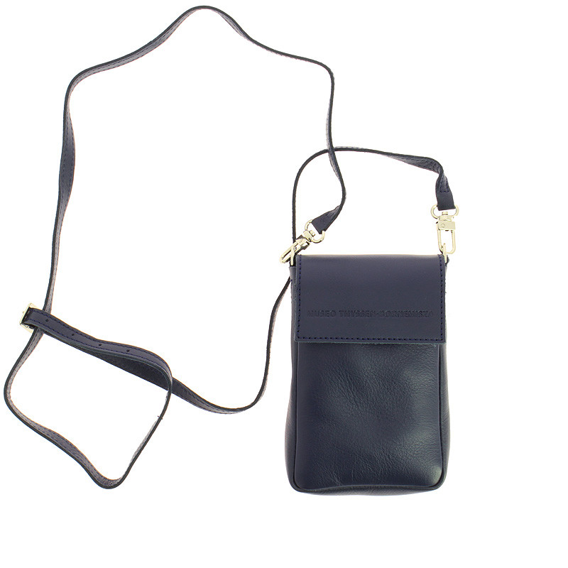 zoom Small Leather Navy Blue Purse