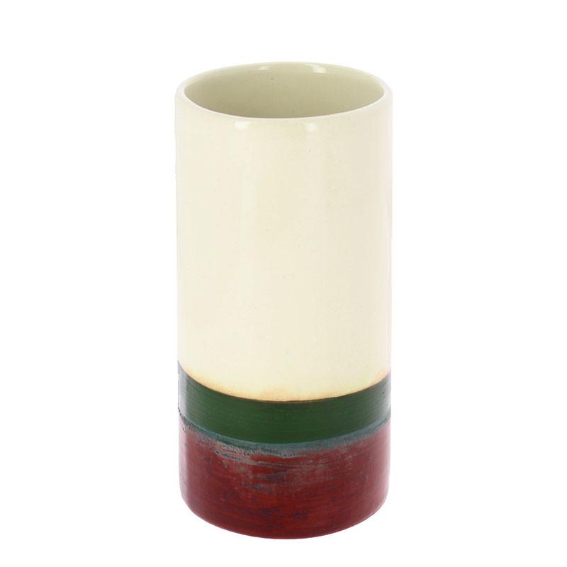 zoom Rothko Green on Maroon Vase