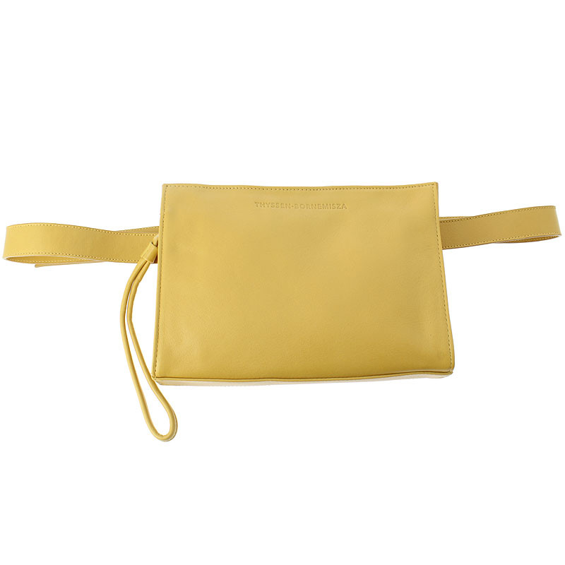 zoom Leather Fanny Pack: Mustard color