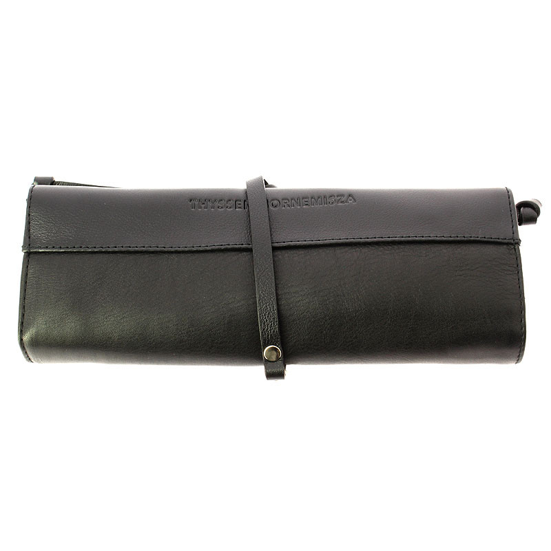 zoom Black Leather Jewelry Pouch