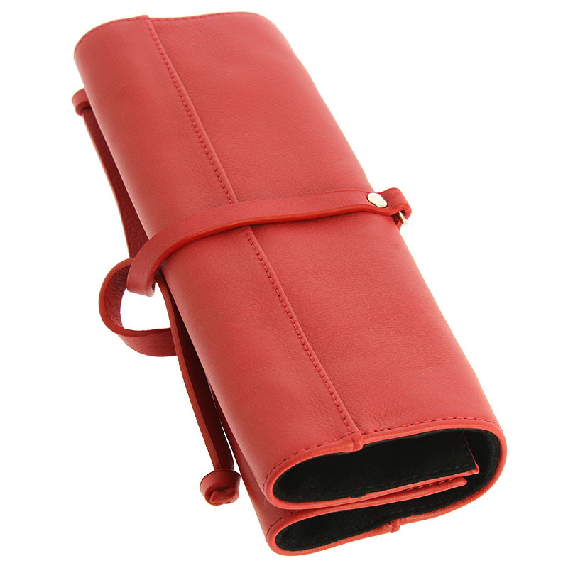 zoom Red Leather Jewelry Pouch
