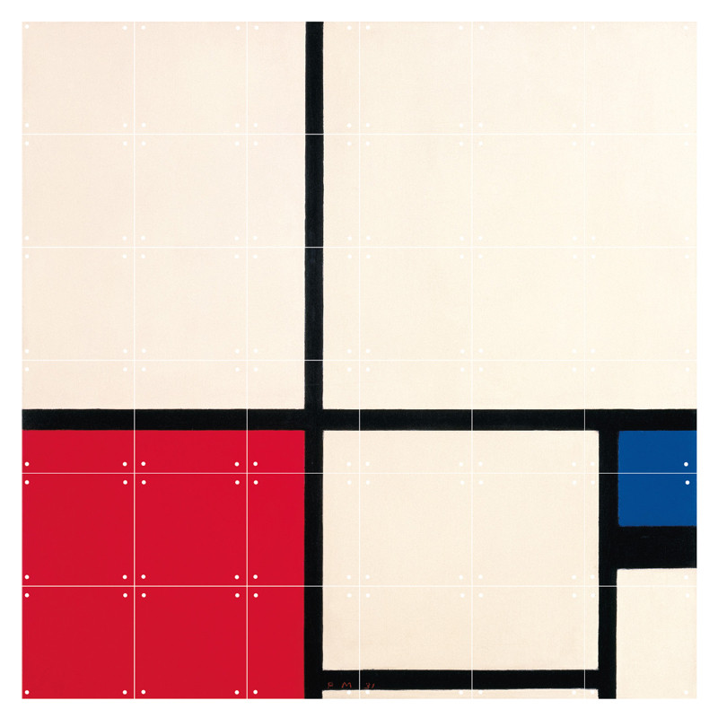 zoom IXXI Mural decoration system 120 X 120 Piet Mondrian Composition in Colours
