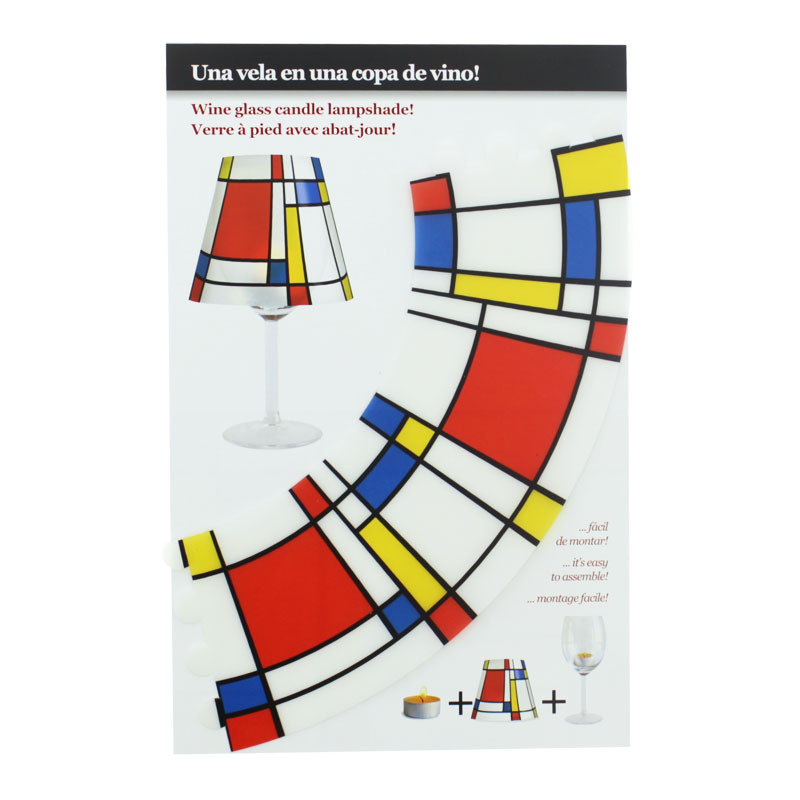 zoom Mondrian Lampshade for a candle in a wine glass