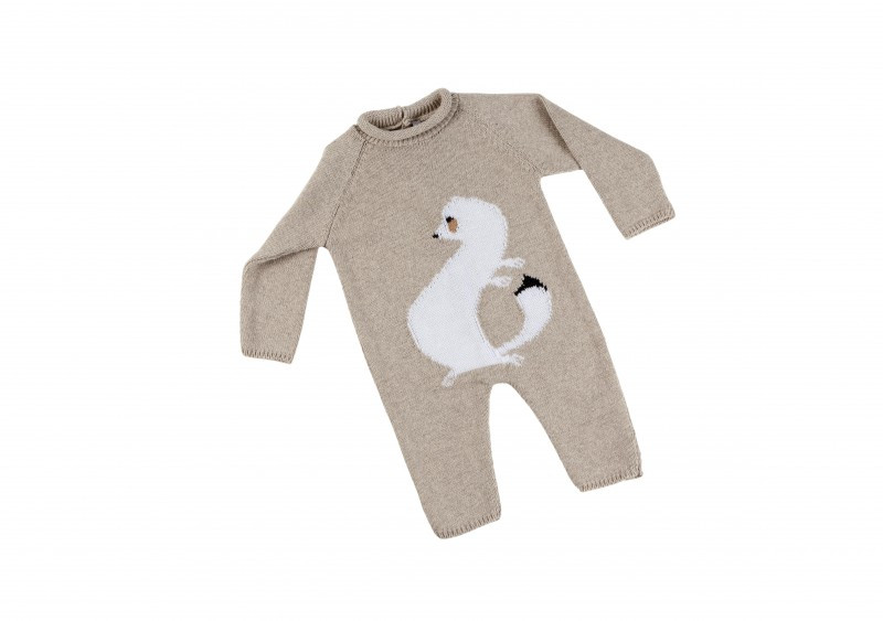 zoom Carpaccio's ermine baby bodysuit. Mink colour.