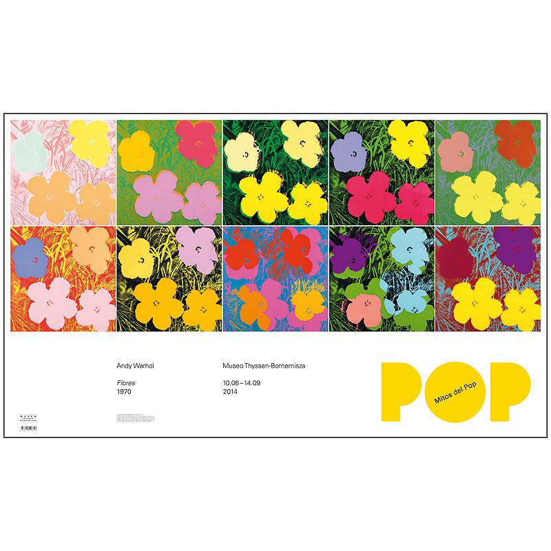 """zoom Poster Warhol """"Mitos del Pop"""""""