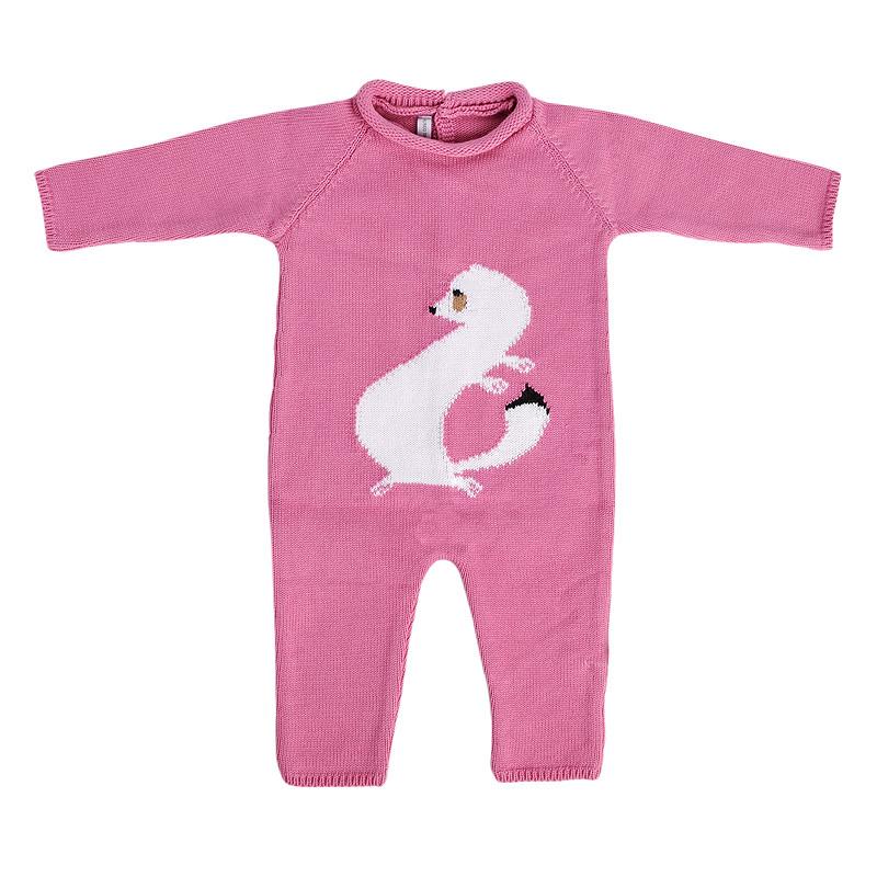 zoom Carpaccio's ermine baby bodysuit. Pink colour.