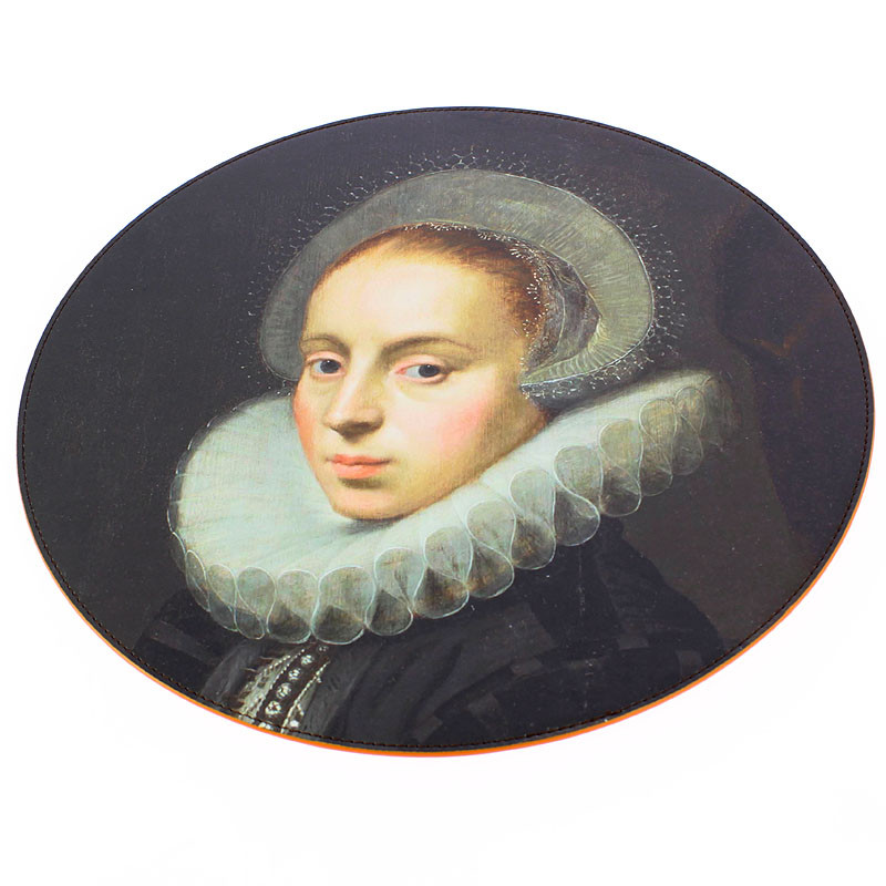 zoom Round Leatherette Placemat. Family Portrait (Woman)