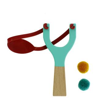 Blue wooden slingshot