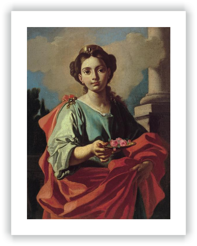 Saint Holding a Platter with Roses