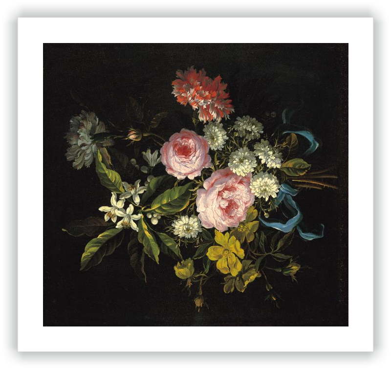 A Bouquet of Chamomile, French Roses, Single Yellow Roses, Orange Blossom and Carnations Tied with a Blue Ribbon
