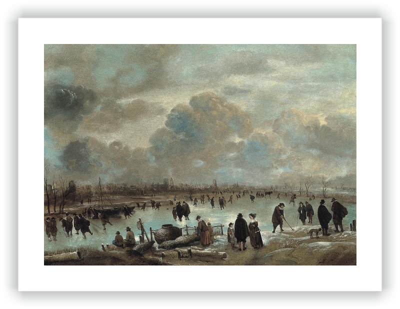 Winter Landscape with Skaters on a Frozen Waterway