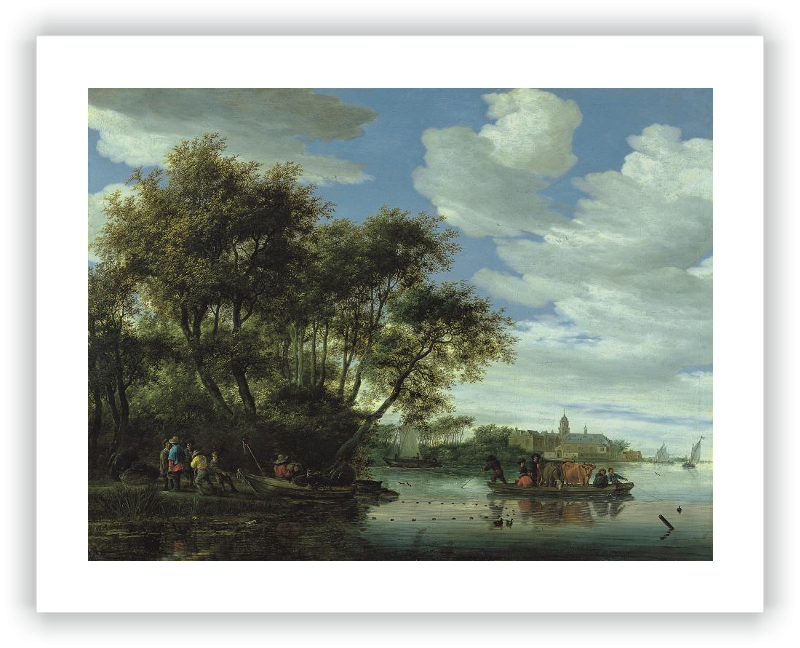 A View of the River Vecht with a Ferry, Fishermen, and Nijenrode Castle in the Distance