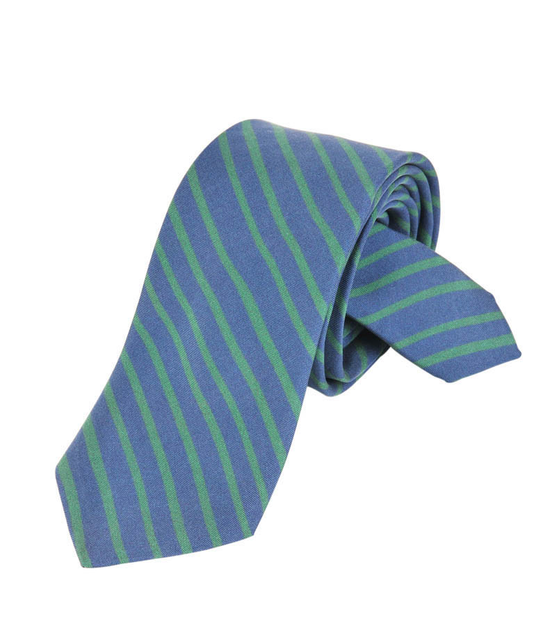 Blue & Green Stripes Silk Tie Delaunay