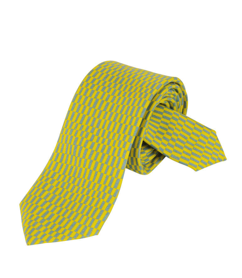 Yellow and Grey rectangles Silk Tie Delaunay