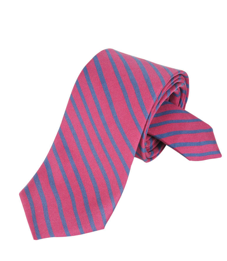 Red & Blue stripes Silk Tie Delaunay