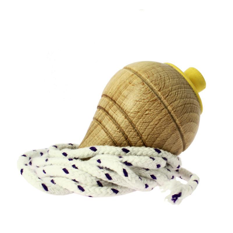 Yellow wooden peg-top