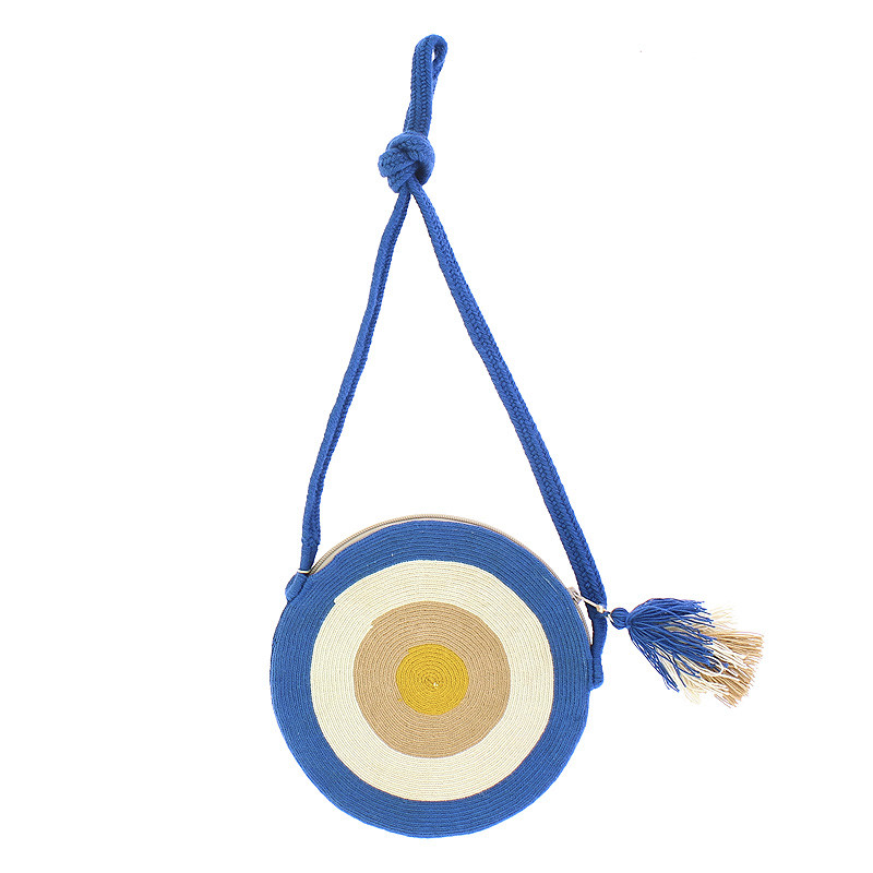 Wayuu Clutch type purse. Portuguese Woman by Delaunay. Blue/white variant