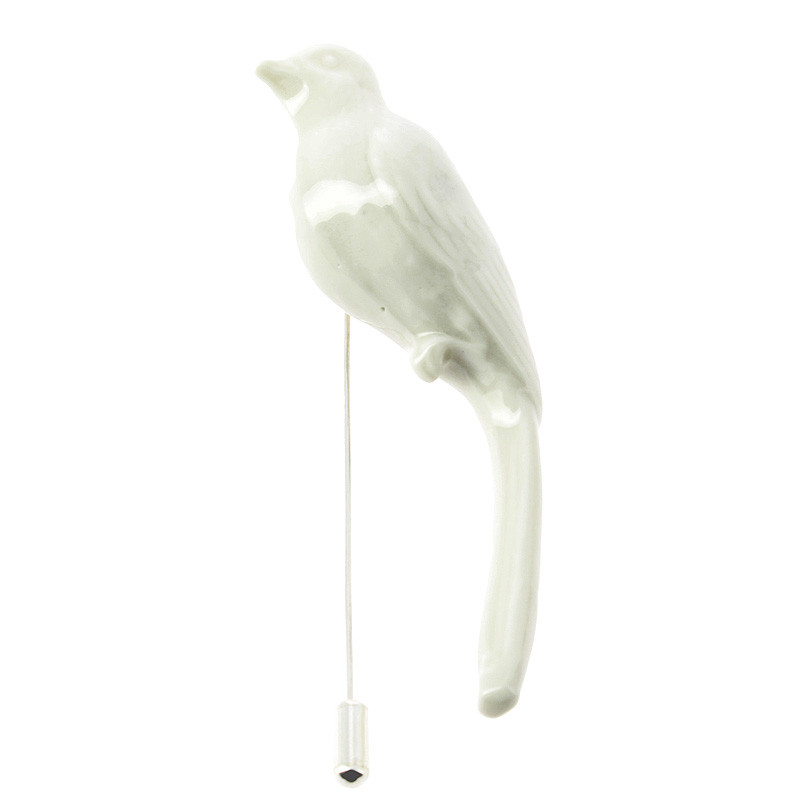 Bird Porcelain Pin