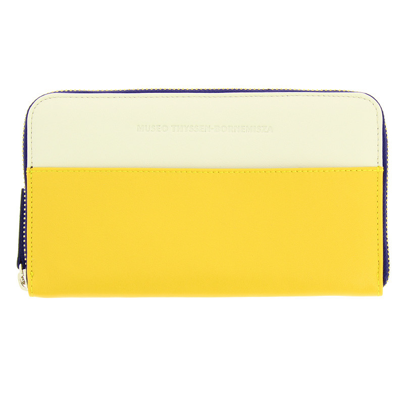 White, Navy Blue and Yellow large wallet / purse