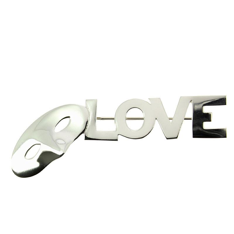 Love, Love, Love Silver Breastpin