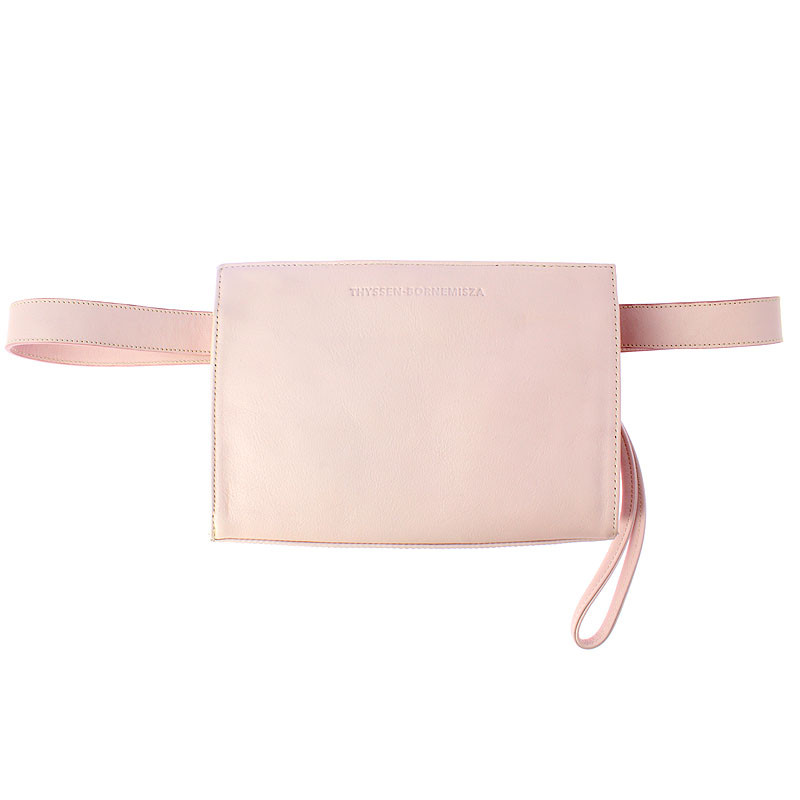 Leather Fanny Pack: Pink color