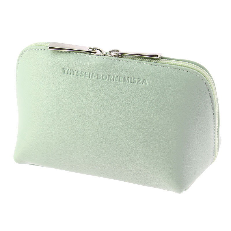 Jade green leather Toiletry bag