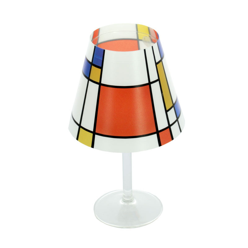 Mondrian Lampshade for a candle in a wine glass