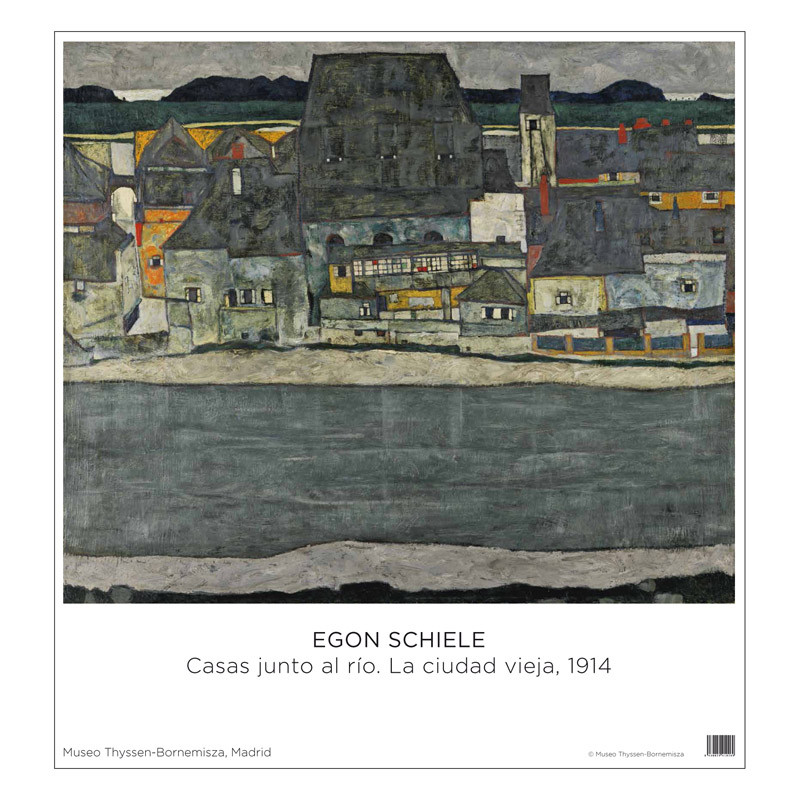 Poster Egon Schiele: Houses on the river