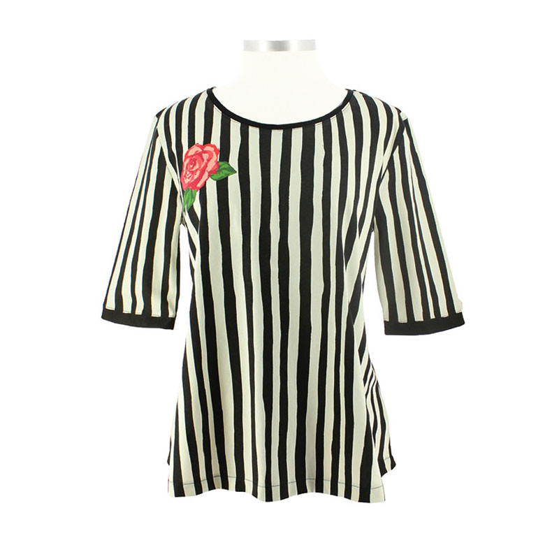 Women T-Shirt: Sorolla's Stripes and Flower