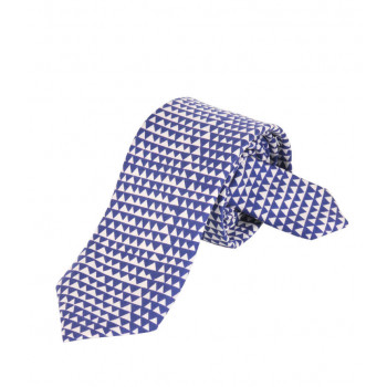 Blue & White triangles Silk Tie Delaunay