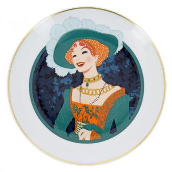 Porcelain Plate Illustration Portrait of a Lady