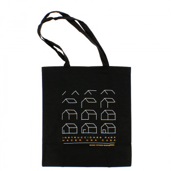 """Black Tote Bag """"Instructions to Make a House"""""""