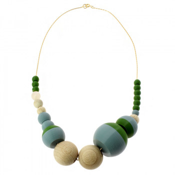 Sonia Delaunay's Green & Turquoise24 pieces Necklace by Helena Rohner