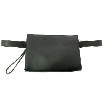 Leather Fanny Pack: Black