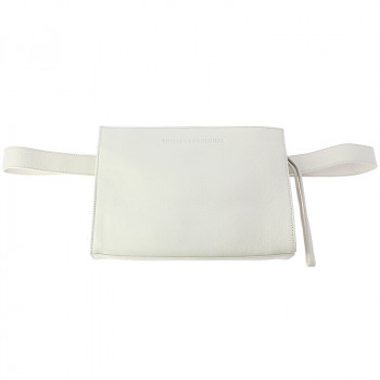 Leather Fanny Pack: Ice White color