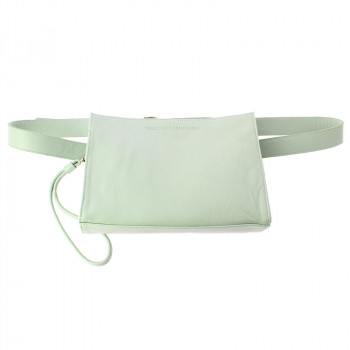 Leather Fanny Pack: Jade green color