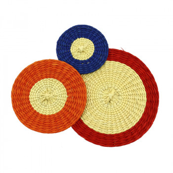 Red and Orange 3 Circles Delaunay Brooch