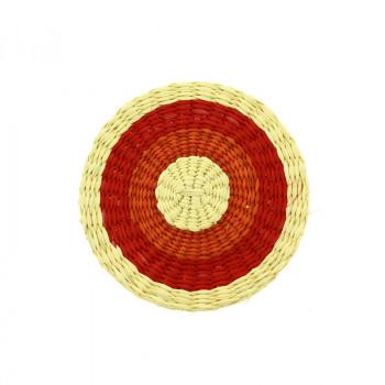 Red Circle Delaunay Brooch